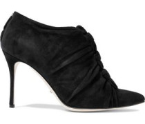 Knotted suede ankle boots