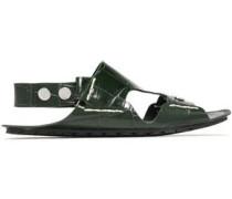 Cutout croc-effect leather slingback sandals