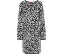 Leopard-print Brushed Jacquard-knit Mini Dress Light Gray