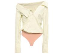 Striped Cotton-poplin And Jersey Bodysuit Yellow