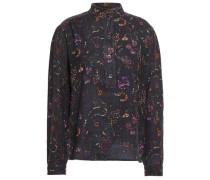 Alina Floral-print Cotton Blouse Charcoal