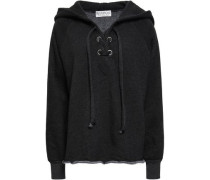 Lace-up Cotton-blend Fleece Hooded Sweatshirt Dark Gray