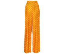 Woman Polka-dot Satin-jacquard Wide-leg Pants Marigold