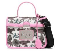 Leather-trimmed Jacquard Shoulder Bag Light Gray Size --