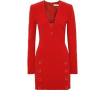 Appliquéd Crepe Mini Dress Red