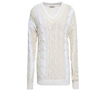 Two-tone Cable-knit Cotton-blend Sweater Ivory