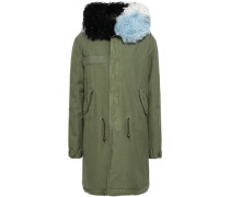 Shearling-trimmed Cotton-canvas Hooded Parka Army Green
