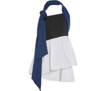 Denim, linen and cotton-blend poplin halterneck top