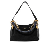 Chain-trimmed leather and suede shoulder bag