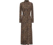 Woman Amanda Belted Leopard-print Crepe Maxi Shirt Dress Animal Print
