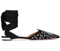 Silk-trimmed embellished suede point-toe flats