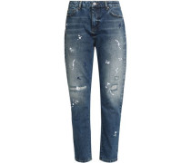 Distressed embroidered high-rise tapered jeans