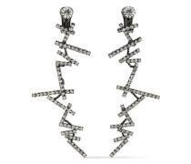 Gunmetal-tone crystal clip earrings