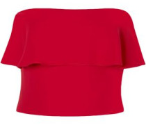 Strapless Layered Silk-crepe Top Red Size 12