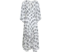 Mckenna Floral-print Silk Crepe De Chine Midi Dress Off-white