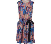 Bow-detailed printed silk-twill mini dress