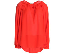 Gathered silk crepe de chine blouse
