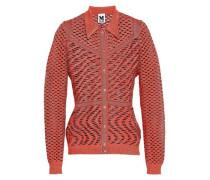 Metallic Open-knit Cardigan Orange