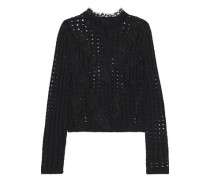 Woman Ruffled Point D'esprit-trimmed Open-knit Wool-blend Cardigan Black