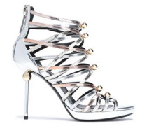 Studded Metallic Leather Sandals Silver
