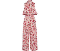 Cropped layered floral-print cotton-blend jumpsuit