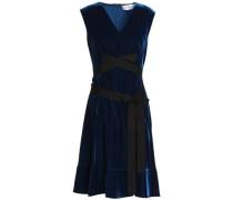 Tie-front Grosgrain-trimmed Velvet Dress Navy