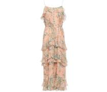 Woman Floral-print Silk-georgette Midi Dress Peach