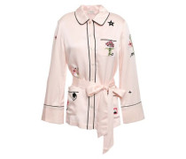 Georgie Belted Embroidered Satin Shirt Pastel Pink