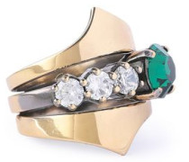 Burnished gold-tone crystal ring