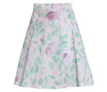 Woman Pleated Floral-print Faille Mini Skirt Pastel Pink