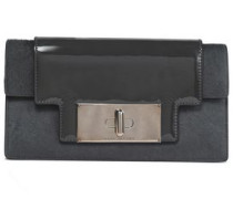 Mischief Patent-leather And Calf Hair Clutch Dark Gray Size --