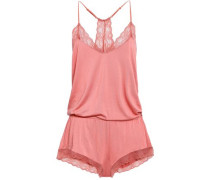 Lace-trimmed Stretch-modal Jersey Playsuit Antique Rose