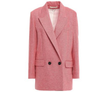 Double-breasted Mélange Wool Blazer Pink