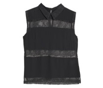 Paneled Lace And Crepe Top Dark Gray
