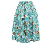 Gathered Cotton-blend Midi Skirt Turquoise