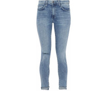 Stiletto Cropped Distressed Mid-rise Skinny Jeans Mid Denim  3