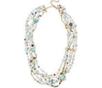 Gold-tone faux pearl and stone beaded necklace