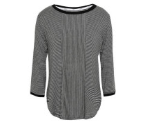 Striped Knitted Pajama Top Black