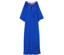 Woman Embellished Tulle And Silk-blend Crepe Gown Bright Blue