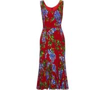 Woman Fluted Floral-print Crepe Midi Dress Crimson