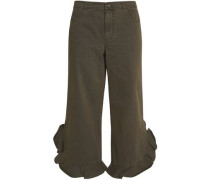 Cropped ruffle-trimmed twill pants