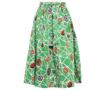 Gathered Cotton-blend Midi Skirt Leaf Green