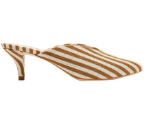 Woman Juno Striped Canvas Mules Light Brown