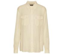 Textured Cotton And Silk-blend Shirt Ecru