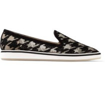 Alona houndstooth-embroidered mesh and suede slip-on sneakers