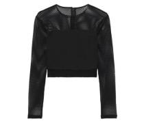 Woman Nikki Cropped Cady-paneled Mesh Top Black