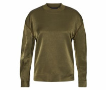 Chiccis Ruched Satin Top Army Green