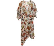 Woman Asymmetric Ruffled Printed Silk-chiffon Dress Ecru