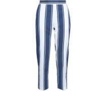 Striped cotton and silk-blend straight-leg pants