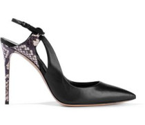 Snake-effect And Smooth Leather Slingback Pumps Black
